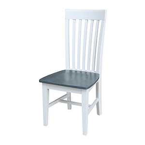 White and Heather Gray Tall Mission Dining Chair- Set of Two