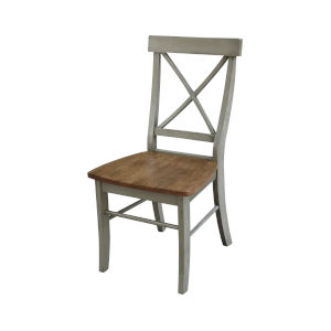 Hickory and Stone X-Back Chair with Solid Wood Seat
