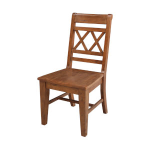 Distressed Oak Double X-Back Chair, Set of 2