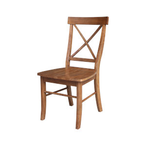 Distressed Oak X-Back Chair, Set of 2
