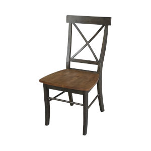 Hickory and Washed Coal X-Back Chair with Solid Wood Seat, Set of 2
