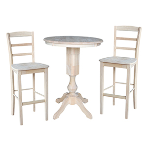 Unfinished 30-Inch Fluted Pedestal Bar Height Table with Two Madrid Stools