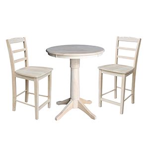 Unfinished 30-Inch Straight Pedestal Counter Height Table with Two Madrid Stools