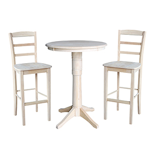 Unfinished 30-Inch Straight Pedestal Bar Height Table with Two Madrid Stools