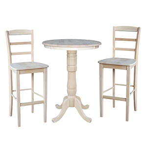 Unfinished 30-Inch Curved Pedestal Bar Height Table with Two Madrid Stools