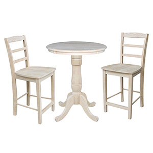 Unfinished 30-Inch Curved Pedestal Counter Height Table with Two Madrid Stools