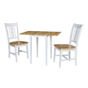 White Natural Dual Drop Leaf Dining Table with Two San Remo Chairs