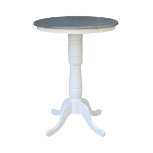 White and Heather Gray 30-Inch Width x 41-Inch Height Round Top Bar Height Pedestal Table