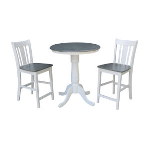 San Remo White and Heather Gray 30-Inch Round Pedestal Gathering Height Table With Counter Height Stools, Three-Piece
