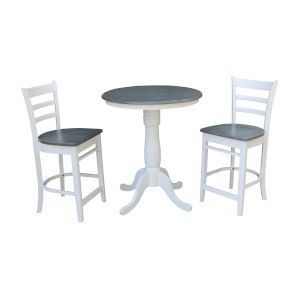 Emily White and Heather Gray 30-Inch Round Pedestal Gathering Height Table With Counter Height Stools, Three-Piece