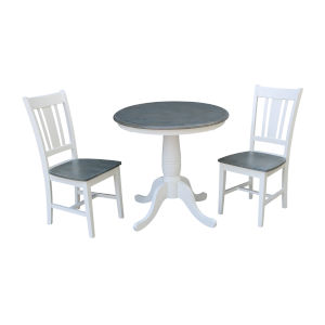 San Remo White and Heather Gray 30-Inch Round Top Pedestal Table With Chairs, Three-Piece