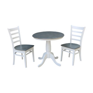 Emily White and Heather Gray 30-Inch Round Top Pedestal Table With Chairs, Three-Piece