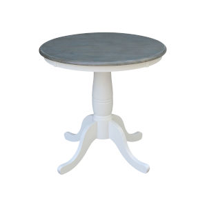 White and Heather Gray 30-Inch Width x 29-Inch Height Round Top Dining Height Pedestal Table