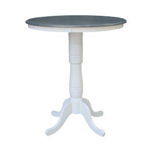 White and Heather Gray 36-Inch Width x 41-Inch Height Hardwood Round Top Bar Height Pedestal Table