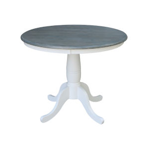 White and Heather Gray 36-Inch Width x 29-Inch Height Hardwood Round Top Dining Height Pedestal Table