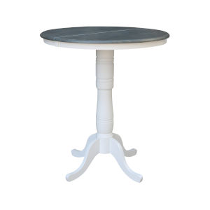 White and Heather Gray 36-Inch Width x 41-Inch Height Round Top Bar Height Pedestal Table With 12-Inch Leaf