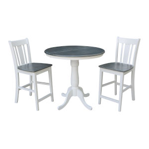 San Remo White and Heather Gray 36-Inch Round Extension Dining Table With Two Counter Height Stools, Three-Piece