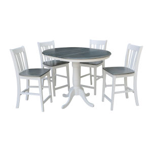 San Remo White and Heather Gray 36-Inch Round Extension Dining Table With Four Counter Height Stools, Five-Piece