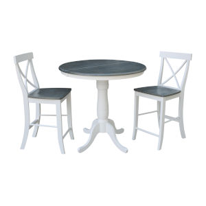 White and Heather Gray 36-Inch Round Extension Dining Table With Two X-back Counter Height Stools, Three-Piece