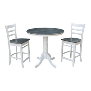Emily White and Heather Gray 36-Inch Round Extension Dining Table With Two Counter Height Stools, Three-Piece