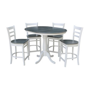 Emily White and Heather Gray 36-Inch Round Extension Dining Table With Four Counter Height Stools, Five-Piece