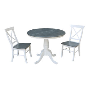 White and Heather Gray 36-Inch Round Extension Dining Table With Two X-Back Chairs, Three-Piece