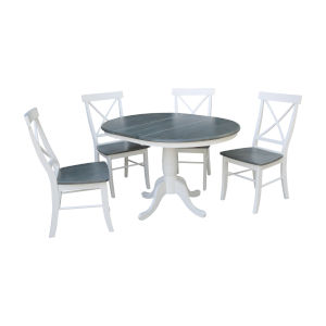 White and Heather Gray 36-Inch Round Extension Dining Table With Four X-Back Chairs, Five-Piece