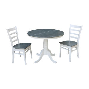 Emily White and Heather Gray 36-Inch Hardwood Round Extension Dining Table With Chairs, Three-Piece