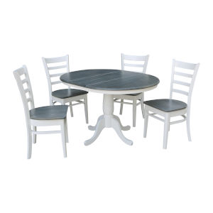 Emily White and Heather Gray 36-Inch Round Extension Dining Table With Four Chairs, Five-Piece