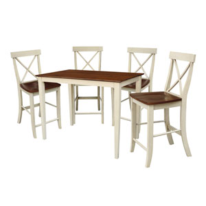 Antique Almond and Espresso 30 x 48 Table with 4 X-Back Counter Height Stools
