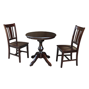 Rich Mocha 30-Inch Curved Pedestal Dining Table with Two San Remo Chairs