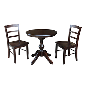 Rich Mocha 30-Inch Curved Pedestal Dining Table with Two Madrid Chairs
