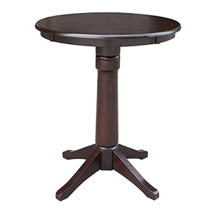 Rich Mocha 30-Inch Straight Pedestal Counter Height Table