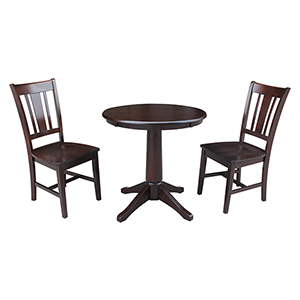Rich Mocha 30-Inch Straight Pedestal Dining Table with Two San Remo Chairs