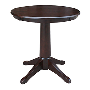 Rich Mocha 30-Inch Straight Pedestal Dining Table