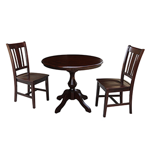 Rich Mocha 36-Inch Curved Pedestal Dining Table with Two San Remo Chairs