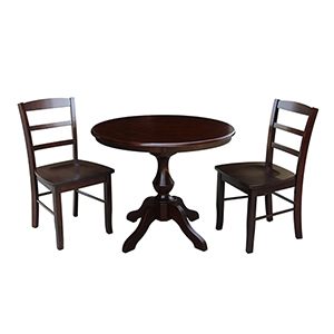 Rich Mocha 36-Inch Curved Pedestal Dining Table with Two Madrid Chairs