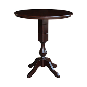 Rich Mocha 36-Inch Curved Pedestal Bar Height Table