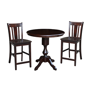 Rich Mocha 36-Inch Curved Pedestal Counter Height Table with Two San Remo Stools