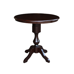 Rich Mocha 36-Inch Curved Pedestal Counter Height Table