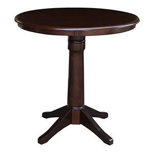 Rich Mocha 36-Inch Straight Pedestal Counter Height Table