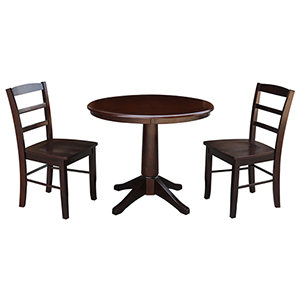 Rich Mocha 36-Inch Straight Pedestal Dining Table with Two Madrid Chairs