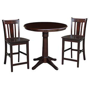 Rich Mocha 36-Inch Straight Pedestal Counter Height Table with Two San Remo Stools