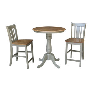 San Remo Hickory and Stone 30-Inch Round Pedestal Gathering Height Table With Counter Height Stools, Three-Piece