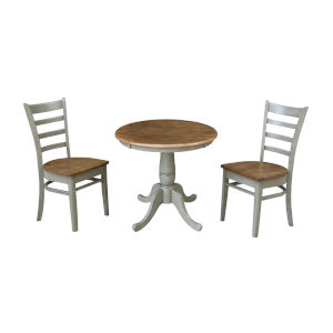 Emily Hickory and Stone 30-Inch Hardwood Round Top Pedestal Table With Chairs, Three-Piece