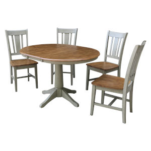 San Remo Hickory and Stone 36-Inch Round Extension Dining Table With Chairs, Five-Piece