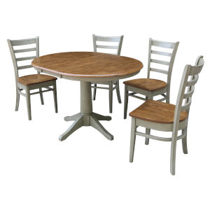 Emily Hickory and Stone 36-Inch Hardwood Round Extension Dining Table With Four Chairs, Five-Piece