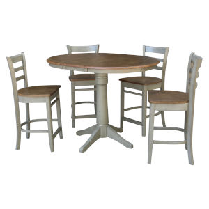 Emily Hickory and Stone 36-Inch Hardwood Round Extension Dining Table With Four Counter Height Stools, Five-Piece