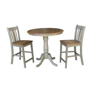San Remo Hickory and Stone 36-Inch Hardwood Round Extension Dining Table With Counter Height Stools, Three-Piece