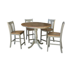 San Remo Hickory and Stone 36-Inch Round Extension Dining Table With Four Counter Height Stools, Five-Piece